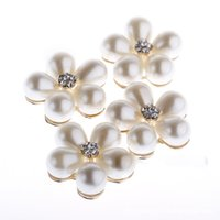 Wholesale 5pc mm ivory metal pearl flower alloy button hair bow for wedding DIY hair accessories metal rhinestone button