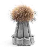 baby pompom - 2016 Fashion Children Winter Raccoon Fur Hat Girls Boys Fur pompoms Ball Baby Beanies Cap Kids Crochet Knitted Hats