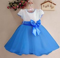 Wholesale Short Ballgown Party Dress - New Baby Girl Dress with bow Children Party Dress princess dress high-quality children clothes Short Sleeved Fashion Ballgown Free Shipping