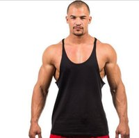 Wholesale Fashion Men Blank Stringer Y Back Cotton Tank Top Gym Bodybuilding Clothings Fitness Shirt Sports Vests Muscle Tops