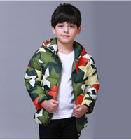 Wholesale 2015 Winter Children Down Coat Camouflage Pattern Boys Hooded Down Outwear Clothing For Kids Fit Age