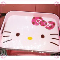 ECO Friendly plastic plates - Hello Kitty Plastic Rectangle Plate Kawaii Two Sides hollow to Carry Fruit Plate Dishes Plate Kitchen Necessity Living room Table Decoration
