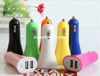 Wholesale Universal Car Charger V A A dual usb port Car Adapter Cigarette Charger for IPhone DHL