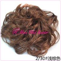 Wholesale Fashion Womens Girls Wavy Curly Donut Hair Bun Synthetic Scrunchie Big Ladies Hair Bun Cover Bun Cage Wrap Maker light brown FJ04