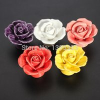 Wholesale 1pcs Vintage Rose Flower Ceramic Knob Cabinet Drawer Kitchen Cupboard Pull Handle A3