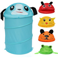 bamboo laundry bin - 5 Style Foldable Cute Cartoon Folding Laundry Cylinder Pop Up Household Storage Bin Hamper Tidy Basket Kids Toy Sundries Box Bag