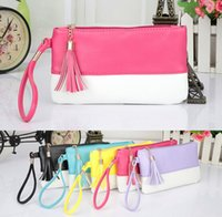 Wholesale Women Wallets PU Leather Tassel Soft Lady s Clutches Bag Long Organizer Wallets Coin Purse Colors by DHL