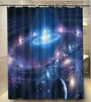 Wholesale Planet Stars Galaxy Sci Fi Print x180cm Waterproof Custom Shower Curtain High Quality Polyester Bath Curtain