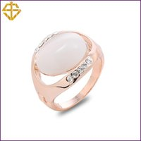Cheap SI Fashion Jewelry Wedding Opal Ring with Austrian Crystal Gold Plated for women For wholesale