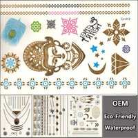 belly oem - OEM Special Gold Silver Tattoos Jewelry Inspired Flash Tattoo Waterproof Flash Tattoo Feather Stickers Glitter Totem Tats CJ012
