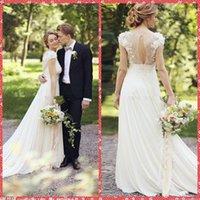 adorn wedding dress - V Neck Chiffon A Line Wedding Dresses Flowers Adorned Chapel Pleated Beach Bride Wedding Gowns Custom Cheap Online