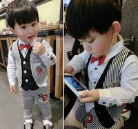 boys clothes - Boys Clothes Boy Sets Kids Clothing Spring Korean Style Children Gentleman Striped Appliqued Outfits Waistcoat Trouser Suit I2817