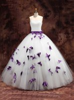 Wholesale White Strapless Quinceanera Dresses Ball Gown With Purple Flowers Sweet Lace Up With Oversize Bow At Back Graduation Dress