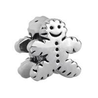 big cookies - Shenzhen factory Gingerbread Man Cookie big hole metal slider bead European spacer charm fit Pandora Chamilia Biagi charm bracelet