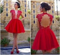 beaded sheep - New Red Short Homecoming Dresses Jewel Lace Top Sheep Backless A line Tulle Fabric Party Prom Graduation Gowns Custom made