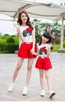 Sets active load - Parent Child Loaded Hot Cotton Sweet Cute Girls Vest Shorts Mother and Daughter Outfit Summer New Cartoon Printing Bow Soft Comfortable Suit