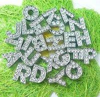 Wholesale 2600pcs mm A Z Full Rhinestone slide letters Fit Pet Collar Wristband