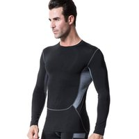 tights for men - Men s Tight Fitting Training Jacket Perspiration Wicking Long Sleeved T Shirt Single Color Polyester Fabric Suitable For Year Round