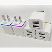 Wholesale Newest Metal US EU plug Dual USB A Wall Charger AC Power Home Travel Adapter port for iphone Plus S S Samsung galaxy S6 edge ipad