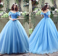 Wholesale 2016 Cinderella Princess Dress Gorgeous Blue Ball Gown Sexy Off the Shoulder Tulle Floor Length Butterfly Beads Bridal Gowns