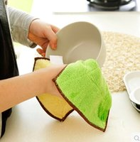 kitchen towels - Superfine fiber cloth double sided water thickening hair oil kitchen washing towel cloth