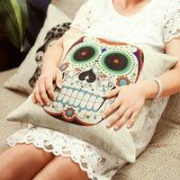 Cheap LOVE AND Cute Skull Vintage Linen Cotton Throw Pillow Case Sofa Bed Home Decor Cushion Cover
