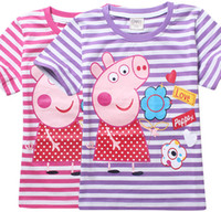 Wholesale New summer pink pig Tee T shirt girls short sleeve cartoon shirts baby girl shirt cotton tops kids clothes