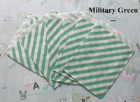Cheap 100pcs Military Green Diagonal stripes printed Grease proof paper Bag Favor Gift Packaging For Wedding Birthday Party Supply