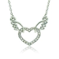 Wholesale Fashion Pendant Necklace White Rhinestone Heart Wing Charms Silver Plated Necklace For Women Romantic Valentines Jewelry
