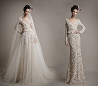 Reference Images atelier dresses - Ersa Atelier Full Lace Backless Wedding Dresses A Line Beads V Neck Long Sleeves With Detachable Chapel Train Over Skirts Bridal Gowns