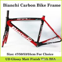 Wholesale Bian chi Carbon Bike Frame Black Red Full Carbon Fibre Frame UD Weave With Size cm Glossy Matt Road Bikes