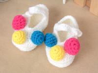 crochet yarn - 2015 New Baby Boys Girls Crochet Prewalker Shoes Newborn Kids Handmake Knitting Cartoon Shoe Woolen Yarn Infant Children Flowers Shoe H3127
