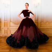 red velvet flower - Sheer Long Sleeves New Celebrity Runway Fashion Pageant Dresses For Women Asymmetric Neck Ball Gown Arabic Maxi Dress Evening Wear