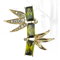 Wholesale Romantic bamboo Brooch Gold Plated Jewelry For Women Emeral Crystal Pin Brooches Fashion Scarf Bijoux Accessories