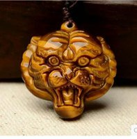 hand carved jade - 100 Natural Hand carved Chinese Hetian Jade Pendant Tiger head Green Jade Pendants Necklace fre shipping
