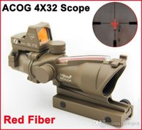 laser sight - 2015 HOT ACOG X32 Red Fiber Source Red Illuminated Trijicon ACOG Red Green Light Changing Telescopic Sights Gun Sight Laser Sight Monocular