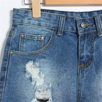 Cheap Wholesale-Special Offer Bleached 2015 New Fashion Casual Ripped Hole Washed Cuffs High Waist Cotton Women Denim Short Jeans 953