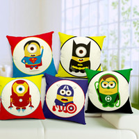 wholesale cushion covers - 50pcs Pillows Cushion Cover Despicable Me Minions Super Hero Pillow Case Batman Superman Ironman Cushions Covers For Home Decoration x45cm