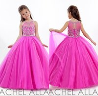 Cheap Modest Beaded Long Flower Girl Dresses Ball Gowns Crystals And Beading Hot Pink Long Tulle Kids Beauty Pageant Dress Made In China