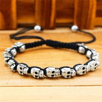Wholesale Fashion Jewelry Vintage Look Silver Plated Handmade Rope Woven Skull Bead Bracelet
