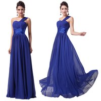 Wholesale Royal Blue Grace Karin Sexy Elegant Women One Shoulder Evening Dresses Floor Length A Line Formal Evening Gowns CL6022