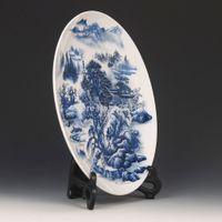 Wholesale Chinese Antique Rare Qing Dynasty qianlong Blue White Porcelain Dragon Plate