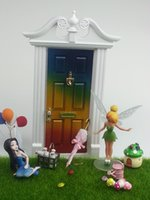 fairy door - Multicolor miniature doll house accessory wood fairy door rainbow color with crystal handle slot knocker key