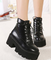 ladies high heel boots - Fashion add plush combat boots winter boots thick sole high platform shoes keep warm women ankle boots ladies high heel shoes