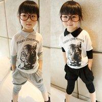 Girl 100% cotton suit - Summer Girl Clothing Set Pure Cotton Tiger Head T Shirt Harem Pants Children Suit Colour Fit Age Kids Casual Sets WD479