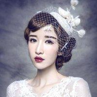 audrey hepburn hat - 2016 Audrey Hepburn S Vintage Elegant Bridal Birdcage Headpieces Lace Flower Beaded Wedding Bridal Hats Party Accessory CPA514