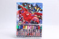Wholesale 2015 Trendy Children Big Hero Art Markers High Quality Watercolor Pen Good Gifts for Kids Cartoon School Supplies Sets