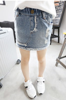 denim fabric - Fashion Girls False pc Jeans Summer Korean Stranght Children Kids Clothes Elastic Washed Denim Fabric Shorts Skirt Tights Girl Blue N0042
