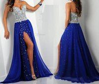 Wholesale 2015 New Sweetheart Sleeveless Beaded Crystal Zipper Back A Line Chiffon Prom Dresses Front Split Pageant Dresses