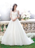 Wholesale New Arrival Wedding Ball Gowns Bateau Sleeve Chapel Train Bridal Dresses Appliques Beads Sheer Sash White Tulle Wedding Dresses ZZ6001